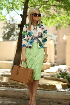 Not sure if I'm comfortable with 3 different patterns... but I like the blazer n stripes with mint
