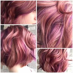 32 Ideas hair brown ombre pink rose gold The most beautiful hair ideas, the most trend hairsty Gold Hair Colors, Hair Color Pink, Brown Hair Colors, Red Color, Purple Hair Highlights, Hair Color Balayage, Peekaboo Highlights, White Highlights, Dark Red Hair