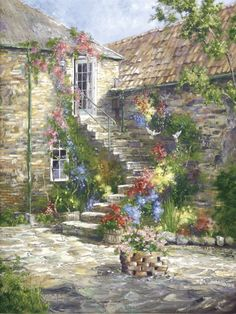 """The Courtyard"" painting by: Marty Bell"