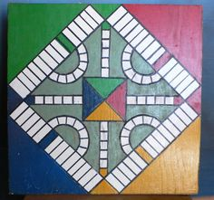 vintage game board hand painted folk art primary colors graphics wall art on plywood from Diz Has Neat Stuff. $25.00, via Etsy.