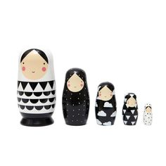 Sketch Inc Black and White Nesting Dolls - Petit Monkey