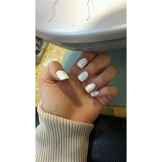 White acrylic nails ❤ liked on Polyvore featuring beauty products, nail care and nail treatments