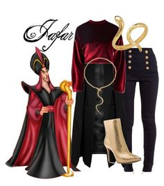 A fashion look from February 2018 featuring red sweatshirt, cape coats and high-waisted skinny jeans. Browse and shop related looks. Cute Office Outfits, Disney Princess Outfits, Movie Inspired Outfits, Jafar, Dapper Day, Disney Villains, Disneybound, Aladdin, Michael Kors