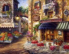 The Colourful Mediterranean  Fruit Stores Cafeterias And Winding Floral Streets ~Levkonoe