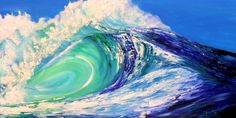 "Large Custom Listing Impasto Ocean Wave Beach Decor Painting Textured- 24""x48""inches by Kathleen Fenton. 425.00, via Etsy."