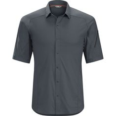 Arcteryx Elaho SS Shirt Mens Magnet XLarge ** Continue to the product at the image link. Mens Outdoor Clothing, Stretch Shorts, Outdoor Outfit, Nice Dresses, Short Sleeves, Men Casual, Mens Fashion, Cotton, Sun Protection