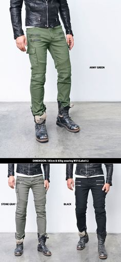 Bottoms :: Pants :: Original Cut Double Zip Cargo Biker-Pants 199 - Mens Fashion Clothing For An Attractive Guy Look