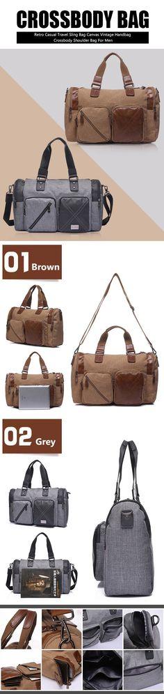 Retro Casual Travel Sling Bag Canvas Vintage Handbag Crossbody Shoulder Bag For Men