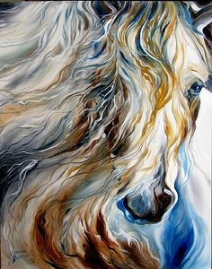 MANE EVENT ~ An Equine Abstract by M BALDWIN Oil ~ 28 x 22