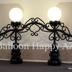 caption align=alignright Elegant Balloon Wrought Iron Lighted Wedding Backdrop/caption One of the perks of balloon design is the enjoyment that comes from people's reac Balloon Display, Balloon Backdrop, Balloon Columns, Balloon Wall, Balloon Ideas, Balloon Designs, Wedding Balloon Decorations, Balloon Centerpieces, Wedding Balloons