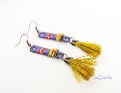 tassel primitive earrings  rectangular metallic by chezviolette