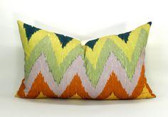 Adras ikat pillow cover in Caravan - 12 x 20. $70.00, via Etsy.