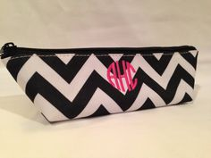 Monogrammed Chevron Pencil Pouch Black and White, love for school!. The high school girls at the school I work at, carry plain ones like these around.