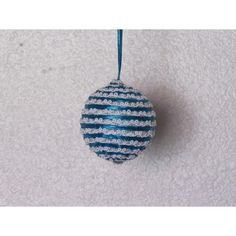 Handcrafted ornament is created with a base wrapped with turquoise ribbon and white trim with little silver beads. It has a turquoise ribbon for hanging. Fabric Ornaments, Ball Ornaments, Handcrafted Christmas Ornaments, Glass Ball, White Trim, Silver Beads, Turquoise, Gemstones, Create