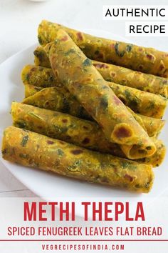 Are you looking for a great mid-day snack? Try this flatbread made with spiced fenugreek leaves for a healthy snack for all ages! This flatbread can also be added as a side to lunch or dinner. Try it tonight! Vegetarian Meal Prep, Vegetarian Snacks, Savory Snacks, Low Calorie Breakfast, Breakfast Recipes, Indian Bread Recipes, Indian Breads, Indian Snacks, Gujarati Recipes