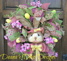 Easter Spring Bunny Deco Mesh Wreath Pink by DeanasDecoDesigns