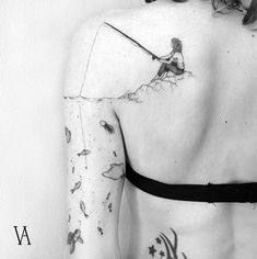 Subtle Tattoo Designs All Introverts Will Appreciate Woman fishing by Violeta ArusWoman fishing by Violeta Arus Hook Tattoos, Mini Tattoos, Body Art Tattoos, Small Tattoos, Sleeve Tattoos, Tattos, Tattoo Sleeves, Anchor Sleeve Tattoo, Simplistic Tattoos