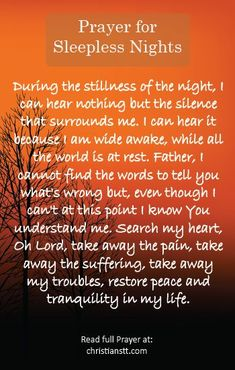 A Prayer for those Sleepless Nights