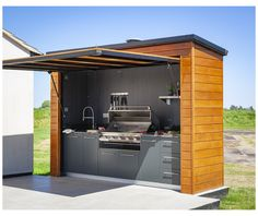 Small Outdoor Kitchens, Outdoor Kitchen Grill, Backyard Kitchen, Outdoor Kitchen Design, Outdoor Rooms, Outdoor Cooking Area, Outdoor Grill Station, Small Garden Kitchen, Backyard House