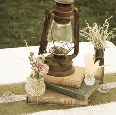 Vintage lantern and books