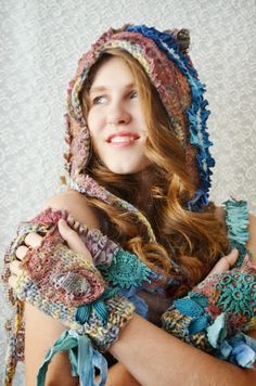 Knitted set Hat and Gloves romantic bohemian Gypsy by irinacarmen, $107.00
