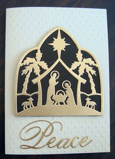 Dark Brown Cardstock used in the background. Looks really effective when you see it for real. Christian Christmas Cards, Religious Christmas Cards, Beautiful Christmas Cards, Christmas Card Crafts, Christmas Nativity, Christmas Angels, Holiday Cards, Christmas Projects, Christmas 2019
