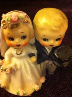 Antique Kewpie Doll Vintage Wedding Couple Cake by TwoBirdBabes, $42.00