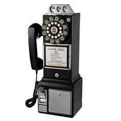 Wild and Wolf Diner Phone - Black - retro 1950s style telephone