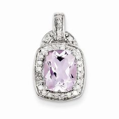 Sterling Silver Diamond & Pink Amethyst Square Pendant