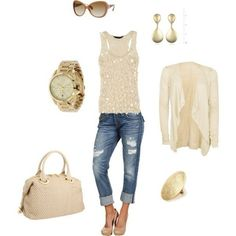 Like the cream lace vest + lace shrug/cardi idea