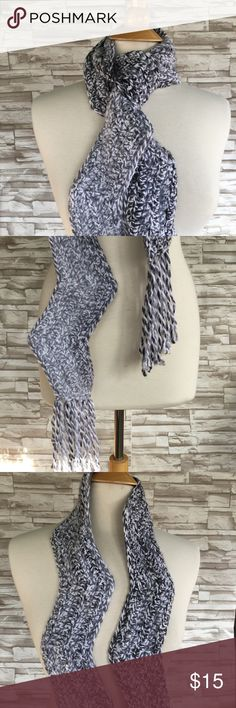 """💜Handmade Knit Scarf Gray Ombré Chevron Beautiful handmade scarf. I don't know the yarn contents but it is soft and thick. 83"""" long, plus 6"""" of fringe on each side. 4"""" wide. Gray ombré, lighter on one end. Knit is a zig zag shape. Gorgeous. Handmade Accessories Scarves & Wraps"""