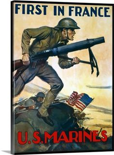 World War I poster of Marines charging into battle behind the American flag
