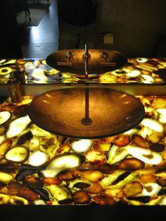 Illuminated Caesarstone Sfumato Concetto stone bathroom counter