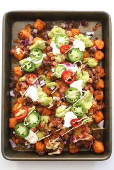 ultimate sweet potato totchos with chipotle aioli