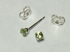 3mm Faceted Peridot Post Earring in Sterling Silver by hanyou23, $8.55