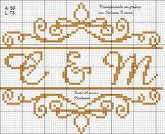Ponto cruz arabesco inicias para casamento ou bodas fonte amaze