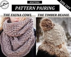 KNITTING PATTERN BUNDLE ⨯ Lace Cowl Knit Pattern + Cable Knit Beanie Knitting Pattern ⨯ Easy Knit Pattern Discount Sale, Knitting Patterns