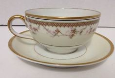 RARE HAVILAND & CO LIMOGES  CUP & SAUCER FOR W J PETTEE CIRCA 1900 EUC