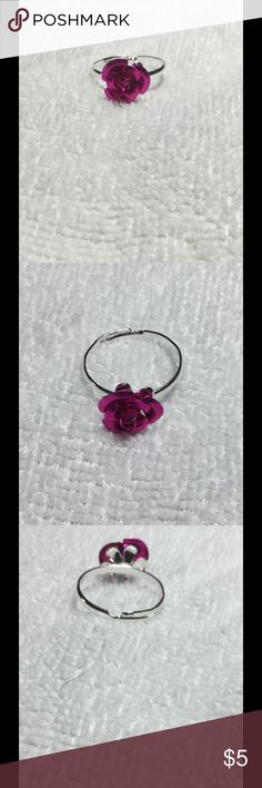 Cute Magenta Rose Ring These little rose rings are quirky and pretty! They are adjustable, so one size fits all. These are perfect for bundling! Jewelry Rings