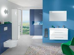 Cuarto de baño en tonos azules y blancos