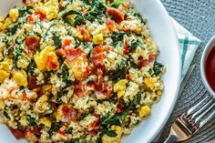 Bacon Egg and Spinach Fried Rice Recipe on Yummly. Quick Lunch Recipes, Chicken Lunch Recipes, Veggie Meals, Healthy Recipes, Easy Recipes, Keto Recipes, Spinach Recipes, Rice Recipes, Cooking Recipes