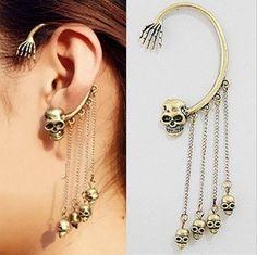 Skull with Skeleton Hand Earring  #earring #skull #skeleton #arete