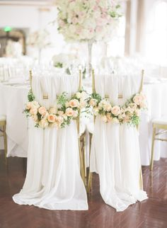 Classic meets elegant floral chair hangings: http://www.stylemepretty.com/destination-weddings/2016/06/28/see-how-this-couple-brought-the-french-glamour-to-shanghai/ | Photography: Jada Poon Photography - http://www.jadapoonphotography.com/