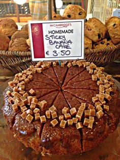 Our ultimate Sticky Banana Cake. Cafe Restaurant, Fine Wine, Grocery Store, Deli, Wines, Stuffed Mushrooms, Banana, Homemade, Cookies