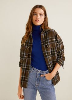 18e553d964a00c Check print Classic collar Long buttoned sleeve Twin patch pockets on chest  Button front Checker Print