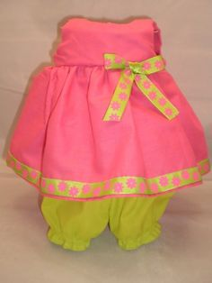 Love the colors; Bitty Baby doll clothes pink dress with bloomers. $10.99, via Etsy.