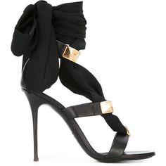 Giuseppe Zanotti Design ribbon stiletto sandals (£945) ❤ liked on Polyvore featuring shoes, sandals, black, black leather shoes, leather sandals, black stilettos, black ankle strap sandals and black leather stilettos