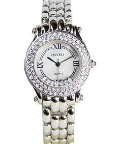 Love this Vecceli Italy Silver Crystal Link Watch by Vecceli Italy on #zulily! #zulilyfinds