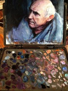 "Maester Luwin played by Donald Sumpter on ""Game of Thrones"" painting by Kristina Laurendi Havens.  Shown in progress with my palette on my Edge Pro Gear easel."