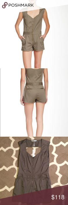 """NWT Trina Turk Finley Romper in Fatigue Size 6 Brand new with tags Trina Turk romper in fatigue, size 6. Details - Sweetheart neck - Sleeveless - Front zip closure - 2 side pockets - Back welt pockets - Back cutout detail - Approx. 32"""" full length, 3"""" inseam - Made in USA Fiber Content Shell: 96% cotton, 4% elastic Lining: 100% cotton Trina Turk Dresses"""